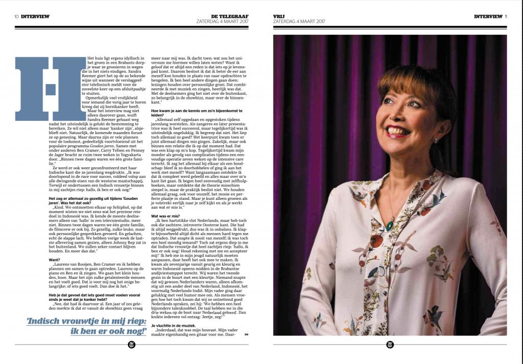 Telegraaf 4 maart 2017 interview Sandra Reemer 2