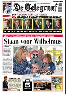 Telegraaf 4 maart 2017 voorpagina Sandra Reemer